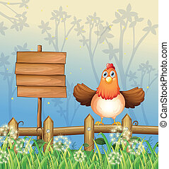 A hen in the forest - Illustration of a hen in the forest