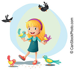 A girl playing with the birds - Illustration of a girl...