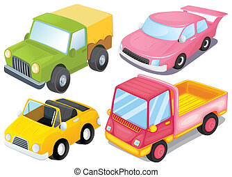 Four colorful vehicles - Illustration of the four colorful...