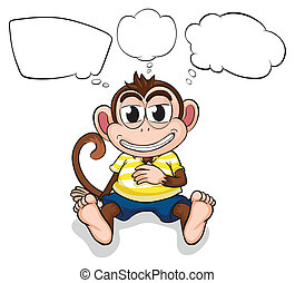 A worried monkey - Illustration of a worried monkey on a...