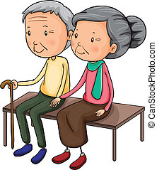 Old couple - Illustration of an old couple on a white...