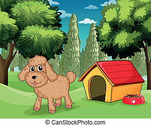 A dog standing outside his dog house - Illustration of a dog...