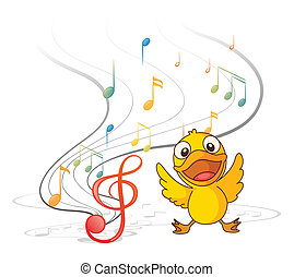 The singing chick - Illustration of the singing chick on a...