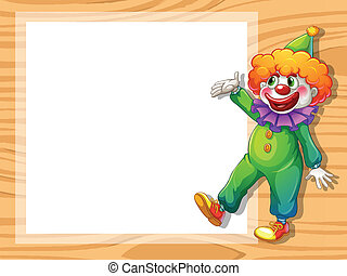 A clown beside an empty white board - Illustration of a...
