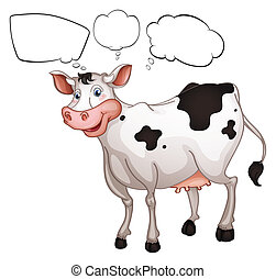 A smiling cow - Illustration of a smiling cow on a white...