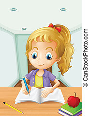 A girl with an apple at the top of a book