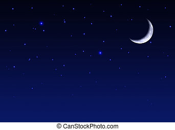 美麗, 夜晚, 天空, 月亮, 星
