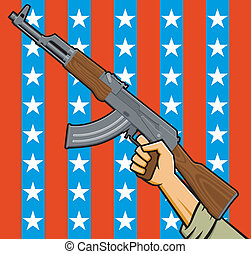 American Assault Rifle - Vector Illustration of a fist...