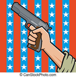 American Pistol - Vector Illustration of a fist holding a...