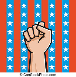 American Fist - Vector Illustration of a raised fist front...