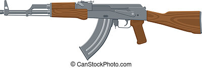Assault Rifle - Vector Illustration of an assault rifle or...