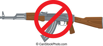 No Assault Rifles - Vector Illustration of an assault rifle...