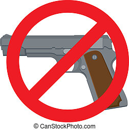 No Pistols - Vector Illustration of a 1911-style automatic...