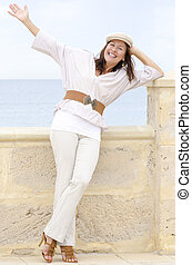Positive sexy mature woman isolated outdoor - Portrait happy...
