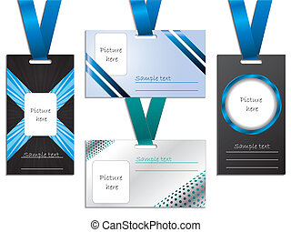 Name tag designs - Name tag design set of four with lanyards