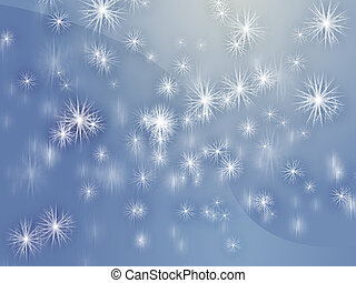Falling snowflakes - Falling snow, detailed crystalline...