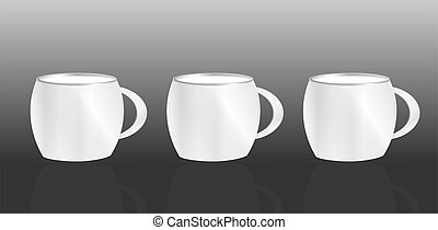 集合, 杯子, 摘要, 黑色, 背景, 白色