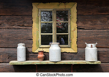 Window on an old wooden farmhouse