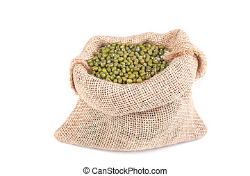 soybeans - green soybeans in a bag on a white background