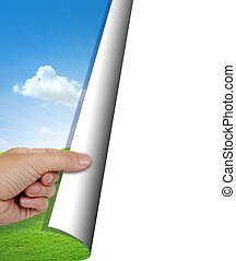 human hand opening nature background with copy space