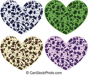 hearts with media icons - vector hearts with media icons