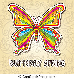 spring butterfly - colorful butterfly over beige background,...