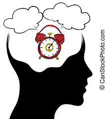 clock of the human mind, Isolated over background