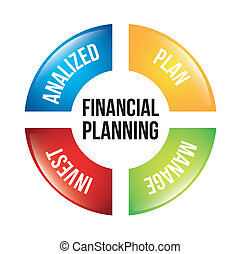 financial planning illustration over white background vector...