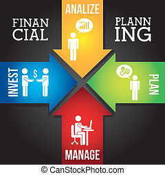 financial planning illustration over black background....