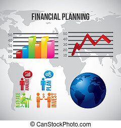 financial planning illustration over gray background vector