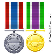 Military style medals - A illustration of two military style...