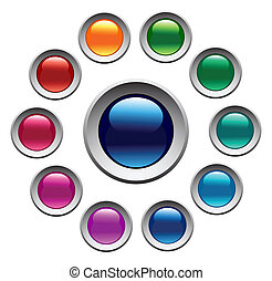 Glossy color buttons set. Vector art.
