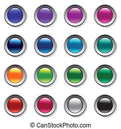Buttons set. Color palette. Vector art.