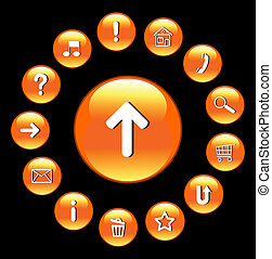 Glossy buttons with symbols. Vector art.