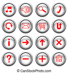 White buttons with red symbols.