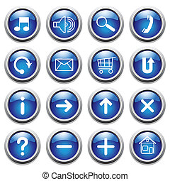 Blue buttons with symbols Vector art