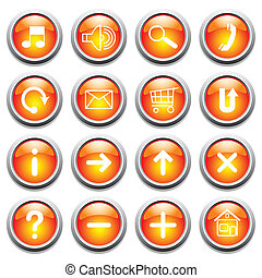Glossy buttons with symbols Vector art