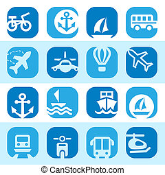 color transportation icons set - Elegant Colorful...
