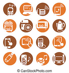 color electronic devices icons - Elegant Colorful Electronic...