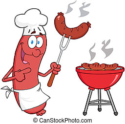 Happy Sausage Chef Cook At Barbecue Cartoon Character