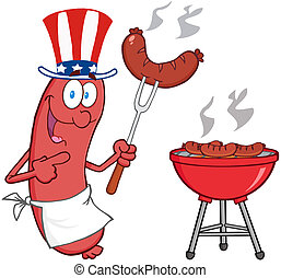 Sausage With American Patriotic Hat - Happy Sausage With...