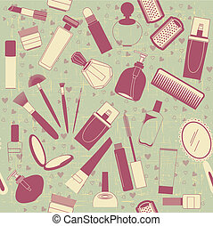 cosmetics seamless pattern.Vintage background on old texture...