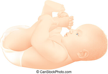 Happy baby playing with his feet - Detailed, realistic...