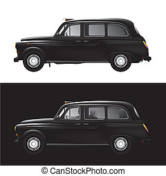 London symbol - black cab - taxi - Detailed vector...