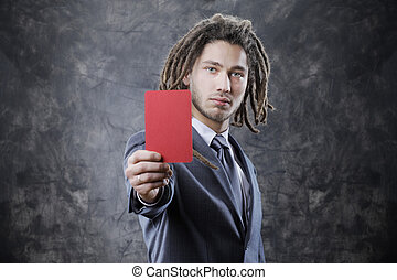 Referee - Businessman referee assigning a red card