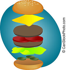 Hamburger breakdown - Hamburger illustration, breakdown into...