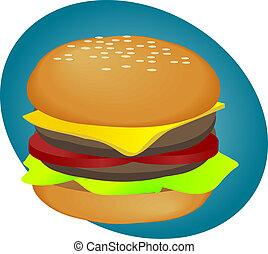 Hamburger fastfood - Hamburger with cheese tomatoes and...