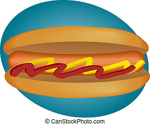 Hot dog - Hotdog illustration, sausage between buns with...