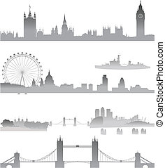 Detailed London Skyline silhouette - Skyline with Big Ben,...