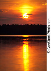 Sunset in the lake Baluosas, Lithuania